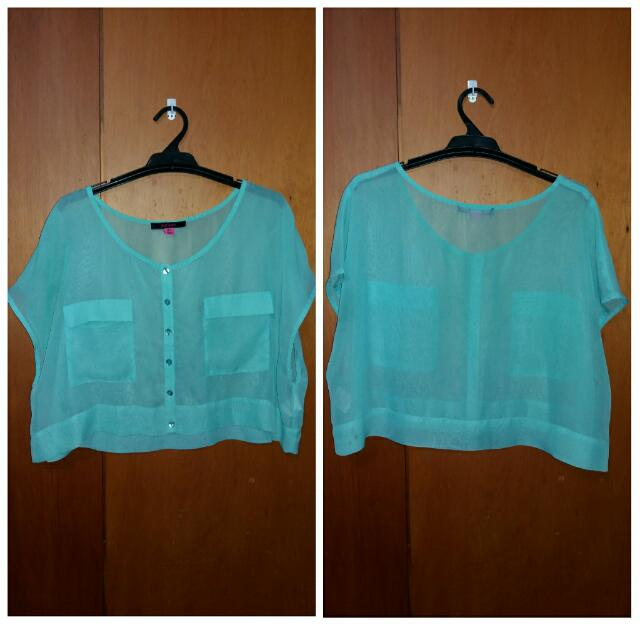See Through Turquoise Crop Top