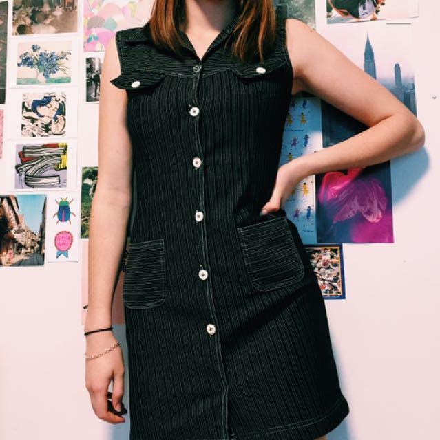 Vintage Pinstripe Shirt Dress