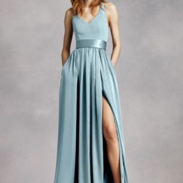 V-neck Halter Gown With Sash White By Vera Wang