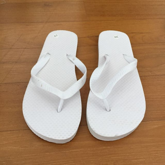 White Flip Flops Size 39