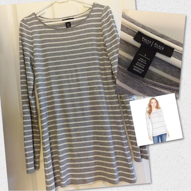 White House/Black Market Long Shirt (Gray/White Stripes)