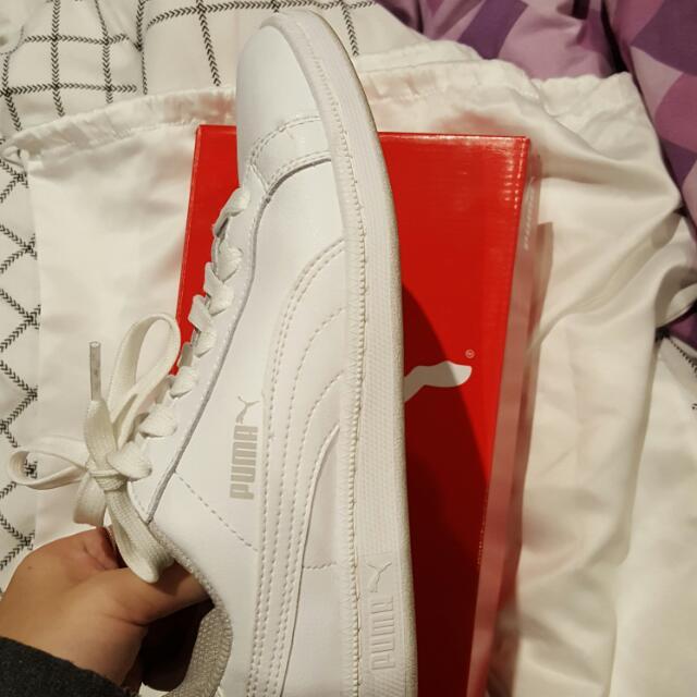 White Puma Basket Shoes