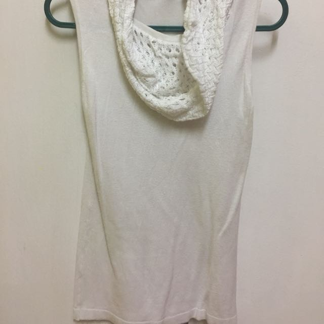 White Sleeveless Top (w Neck Shawl)