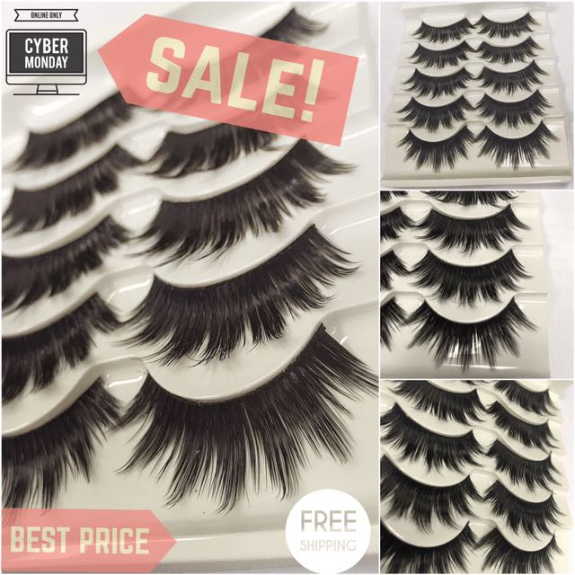 X5 PAIRS FALSE EYELASHES - BLACK DRAMATIC AND FULL VOLUME