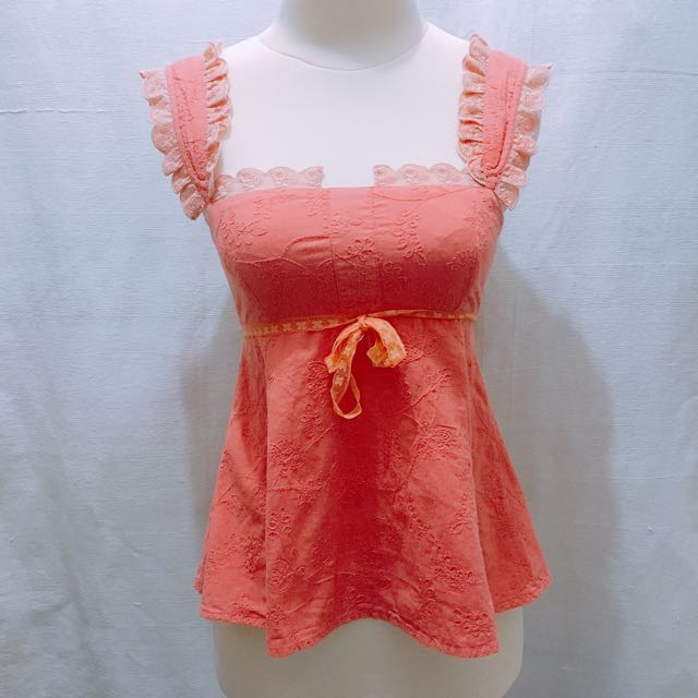 (X)SML Peach Girly Top