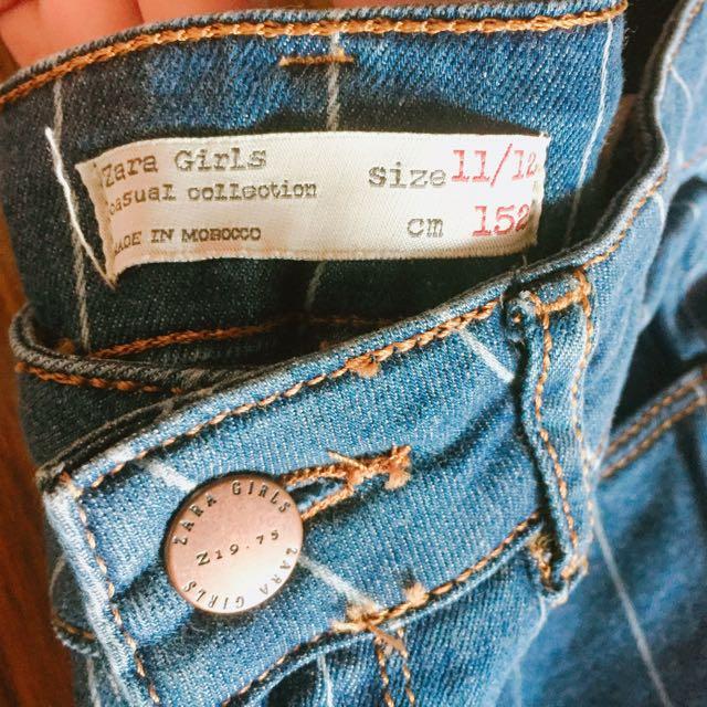 Zara女童刷破線條長褲#古著