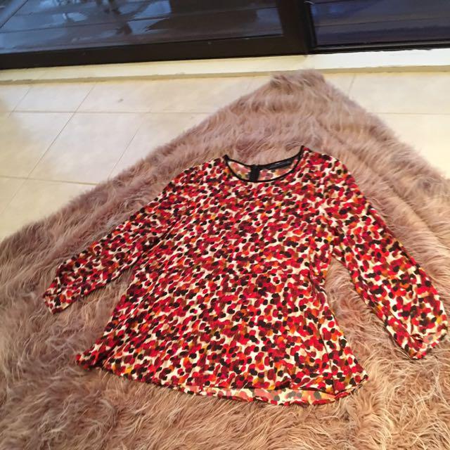 Zara - Long Sleeve Top With Peplum Detail