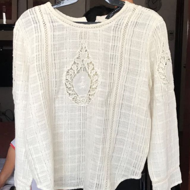 Zara Women Cream White Top