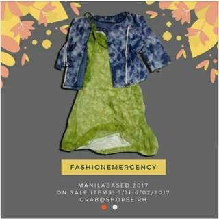 Set Of 2 - Floral Dress, Blazer Jacket denim