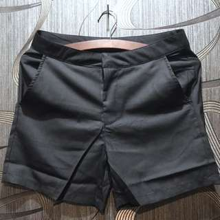 Pinstripe Short In Black Polyester