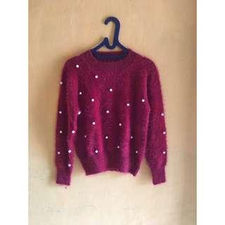 Furry Sweater Maroon