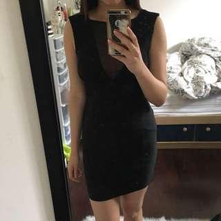 Mesh Panel Plunge Black Dress