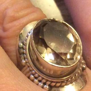 Size 7US Clear Topaz Sterling Silver Ring