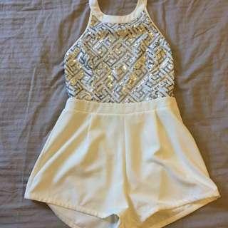 White Sequin Jumpsuit Size 10
