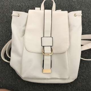 Cute White Backpack Bag with Hidden Zips & Pockets & Adjustable Straps