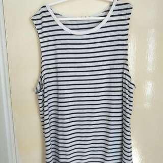 Striped Black And White Cotton Singlet