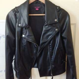 Black Pleather Jacket / coat - Size 12