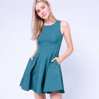 Dressabelle Scallop Hem Dress Turquoise