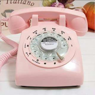 Rotary Dial Vintage Phone in Pink, Red, Black & White
