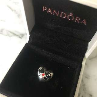 Pandora Mickey And Minnie Heart Charm With Red & Black Enamel