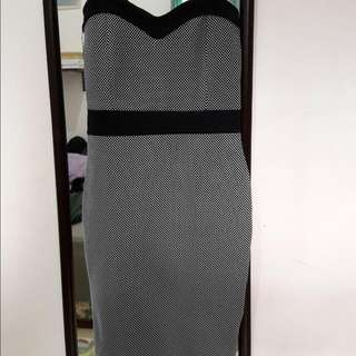 New Look Bodycon Black White Dress