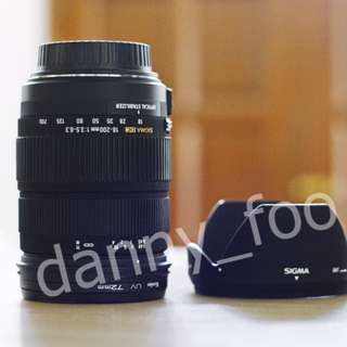 Sigma 18-200mm OS (Optical Stabilizer) f3.5-6.3 - Canon mount