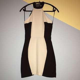 Black And White Back Cut Out Dress