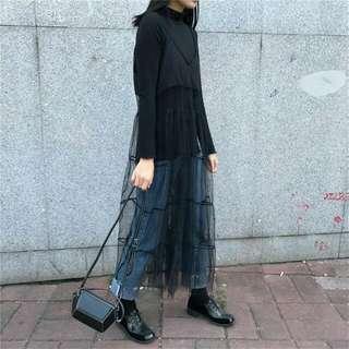 黑色網紗鏤空透視拼接吊帶裙