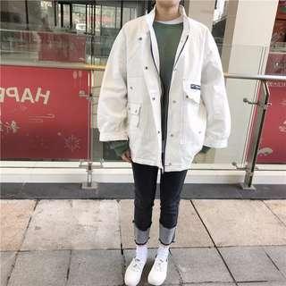 春款~寬鬆BF工裝夾克薄外套