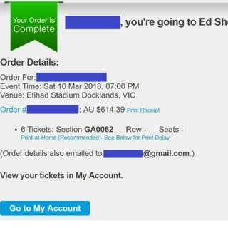 6 × Ed Sheeran Concert Tickets (Melbourne) Mar 10, 2018