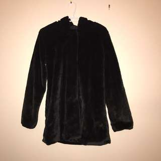 Black Faux Fur Jacket With Hood