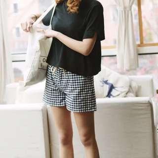 棉麻格紋休閒鬆緊短褲