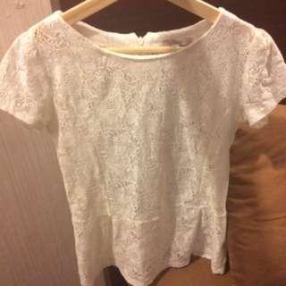 Zara White Lace Peplum Shirt - Brukat Putih