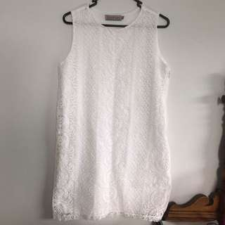 Boohoo White Lace Embroided Dress