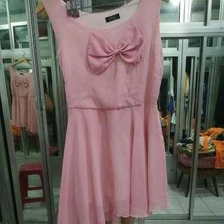 Pink Chiffon Dress With Ribbon.