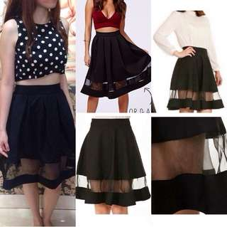 Organdy Organza Black Flare Skirt