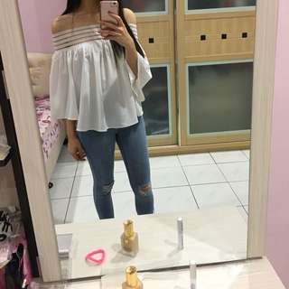 White Off Shoulder Top + Free Tracked Shipping