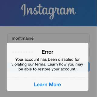 Our Insta is Disabled