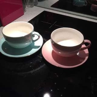 His And Hers Teacup Set (baby Blue And Pink)