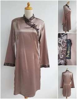 Cheongsam Dress Lengan Panjang Coklat