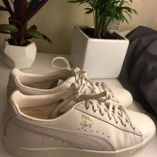 Puma Leather White Clyde Natural Sneaker Shoe Size UK 7