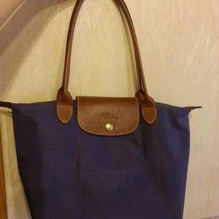 Longchamp 中袋,紫色, 長杷, 外表新淨