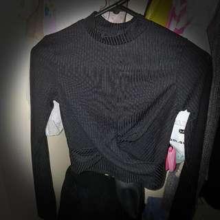 Twist Hem Long Sleeve Black Top