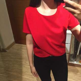 Scallop Blouse Red