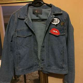 Denim Jacket With Pop Patches