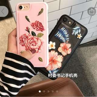 embroidered trendy iphone 7 black case