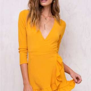 Princess Polly Honeyduke Ruffle Wrap Dress