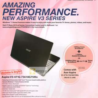 Acer v3 laptop i7 Quad core
