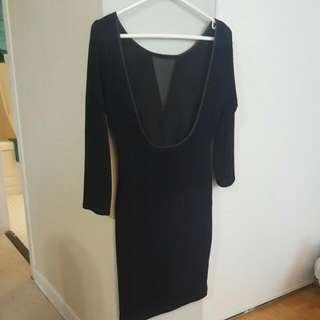 Backless Black + Blue Cocktail Dress