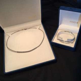 Sterling Silver Beaded Birks Bracelet & Necklace Set